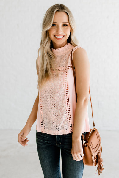 Pink Eyelet Detailed Boutique Blouses for Women