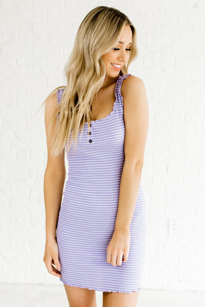 Purple and White Striped Boutique Mini Dresses for Women