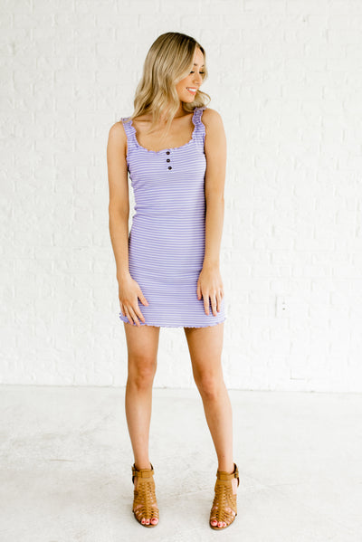 Purple and White Lettuce Style Trim Boutique Dresses for Women