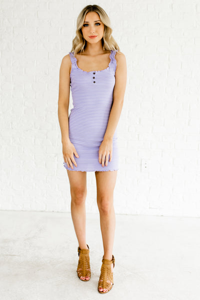 Purple and White Striped Women's Night Out Boutique Dress
