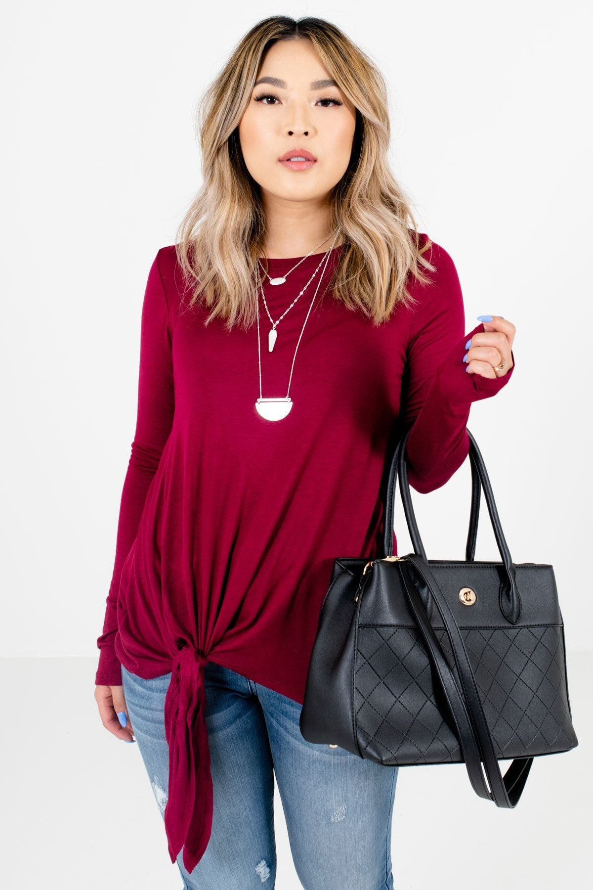 Burgundy Long Sleeve Boutique Tops for Women