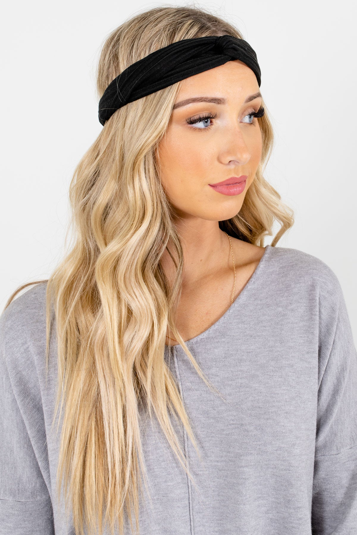 Black Ribbed Material Boutique Headbands for Women