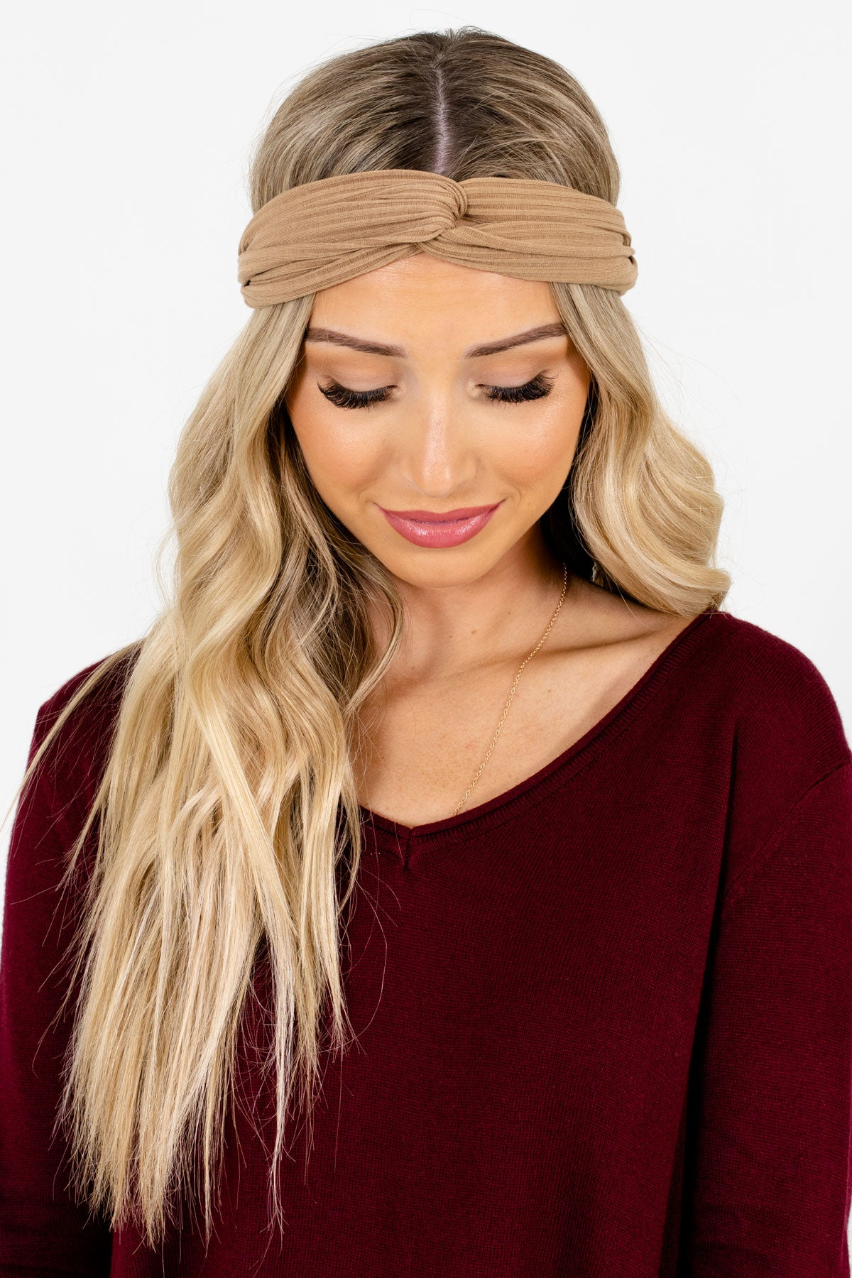 Tan Brown Ribbed Material Boutique Headbands for Women