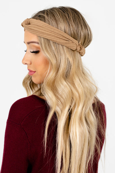 Women's Tan Brown Infinity Knot Detailed Boutique Headband