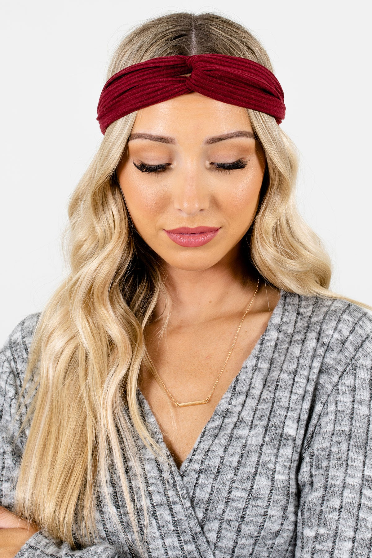 Burgundy Ribbed Material Boutique Headbands for Women