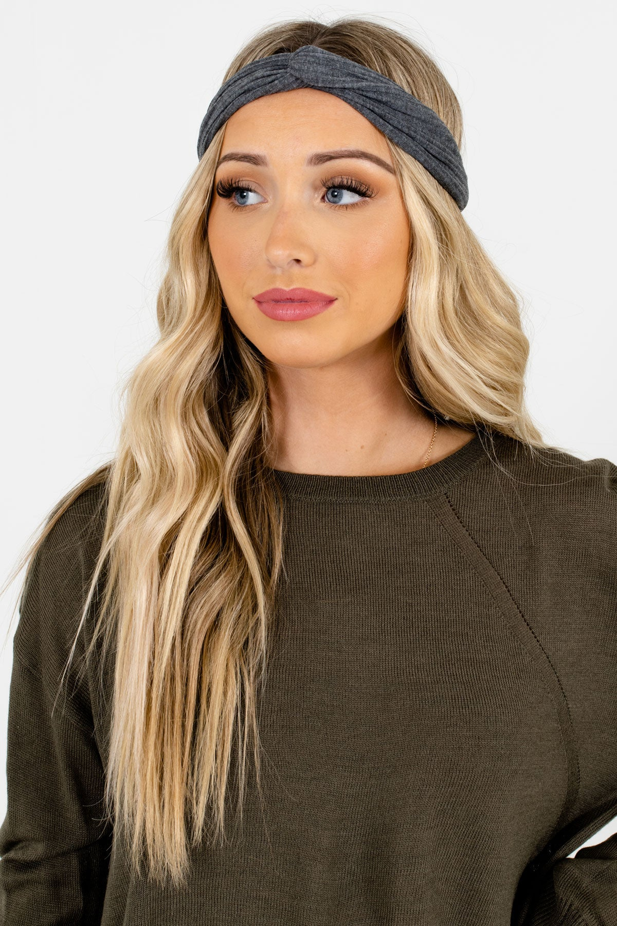 Gray Ribbed Material Boutique Headbands for Women