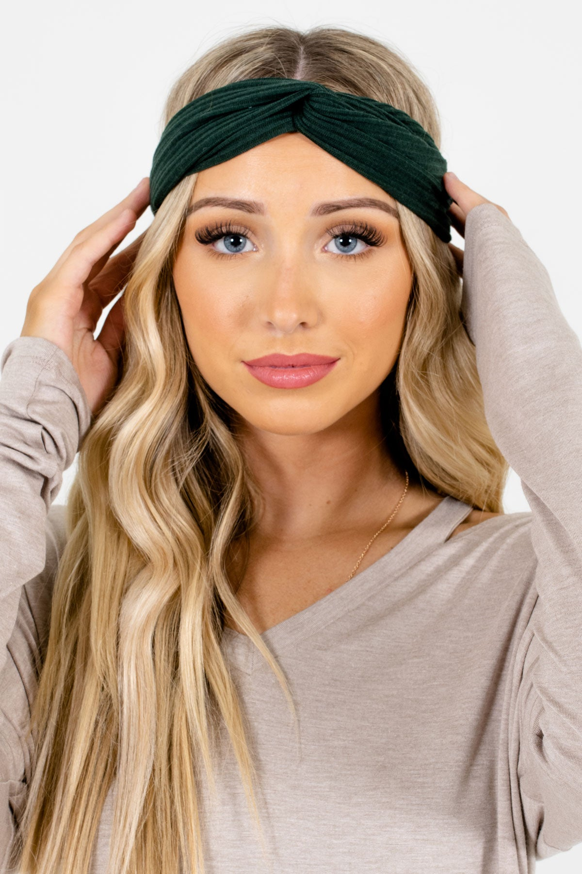 Green Ribbed Material Boutique Headbands for Women