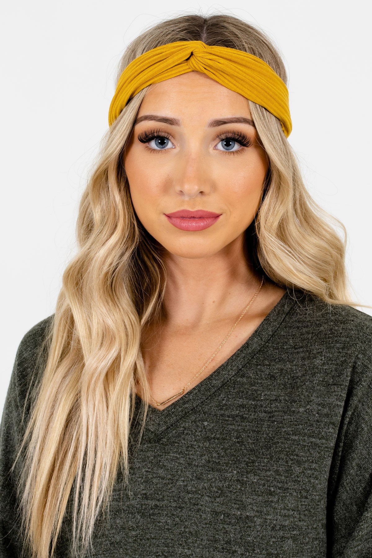 Mustard Yellow Ribbed Material Boutique Headbands for Women