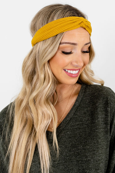 Mustard Yellow Back Elastic Boutique Headbands for Women
