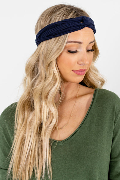 Navy Blue Ribbed Material Boutique Headbands for Women