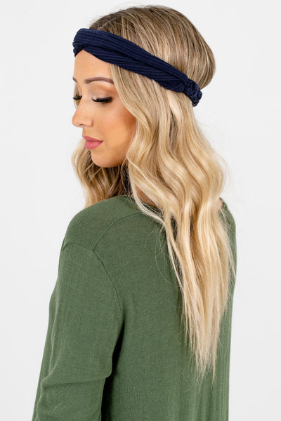 Women's Navy Blue Infinity Knot Detailed Boutique Headband