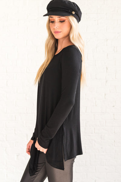 Black Flattering and Flowy Boutique Women's Tops