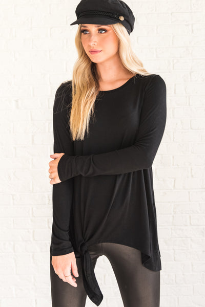 Black Long Sleeve Boutique Tops for Women