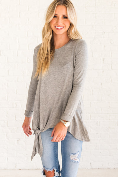 Cute Light Gray Tie Front Long Sleeve Boutique Tops for Women