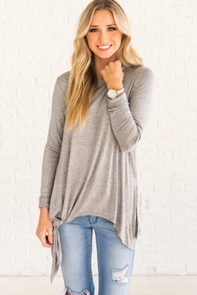 Light Gray Long Sleeve Boutique Tops for Women