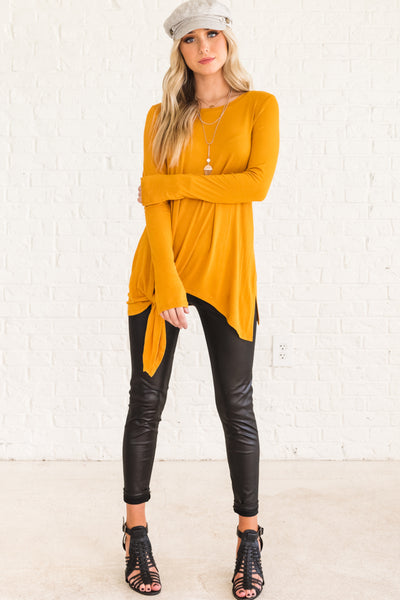Mustard Yellow Flowy and Flattering Tops for Women