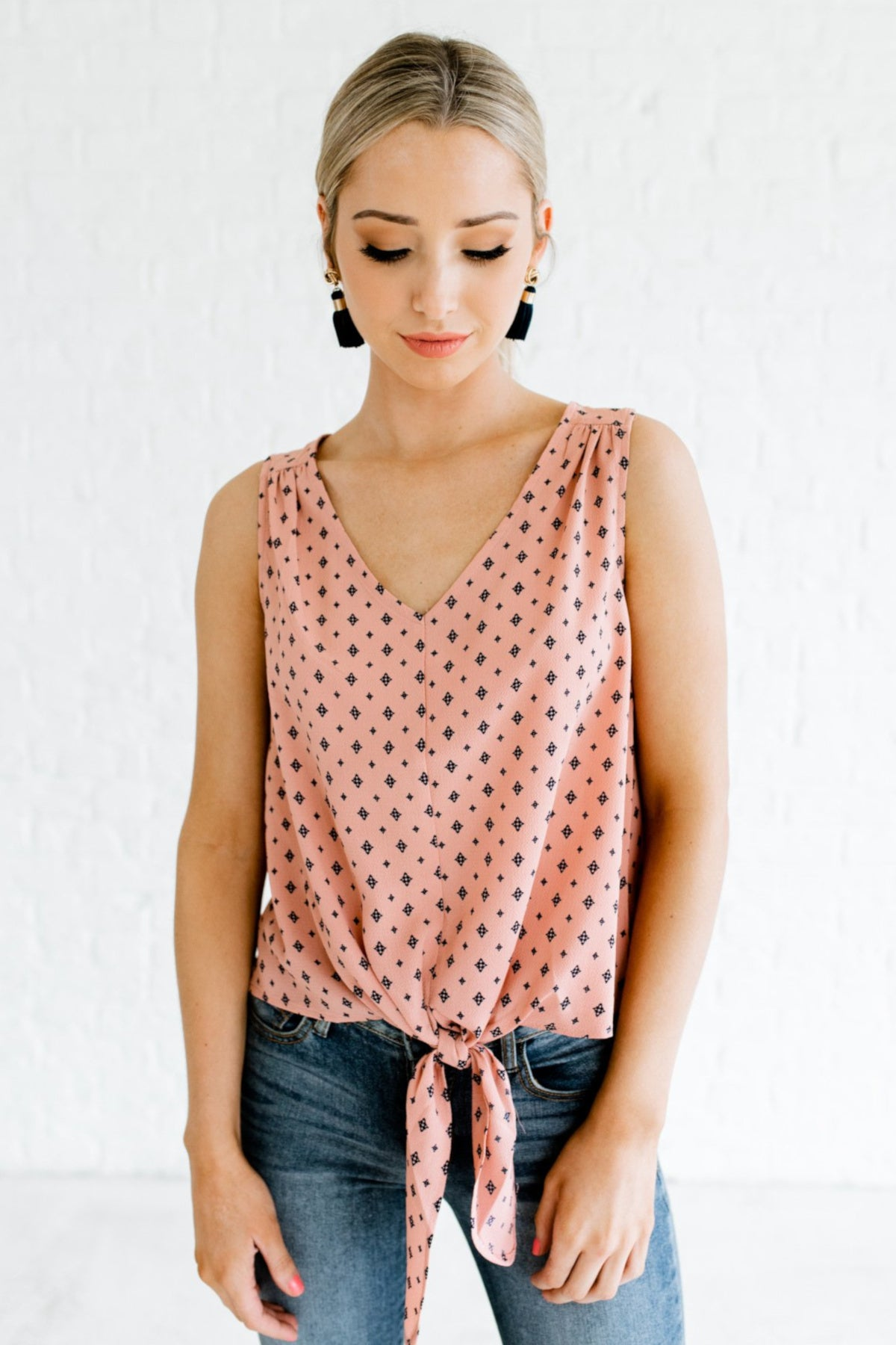 Salmon Pink Navy Patterned Diamond Print Tie Front Knot Blouses and Tanks