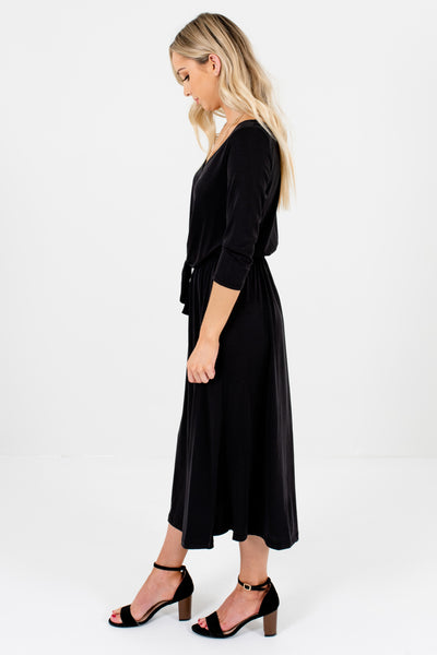 Black 3/4 Length Sleeve Style Boutique Midi Dresses for Women