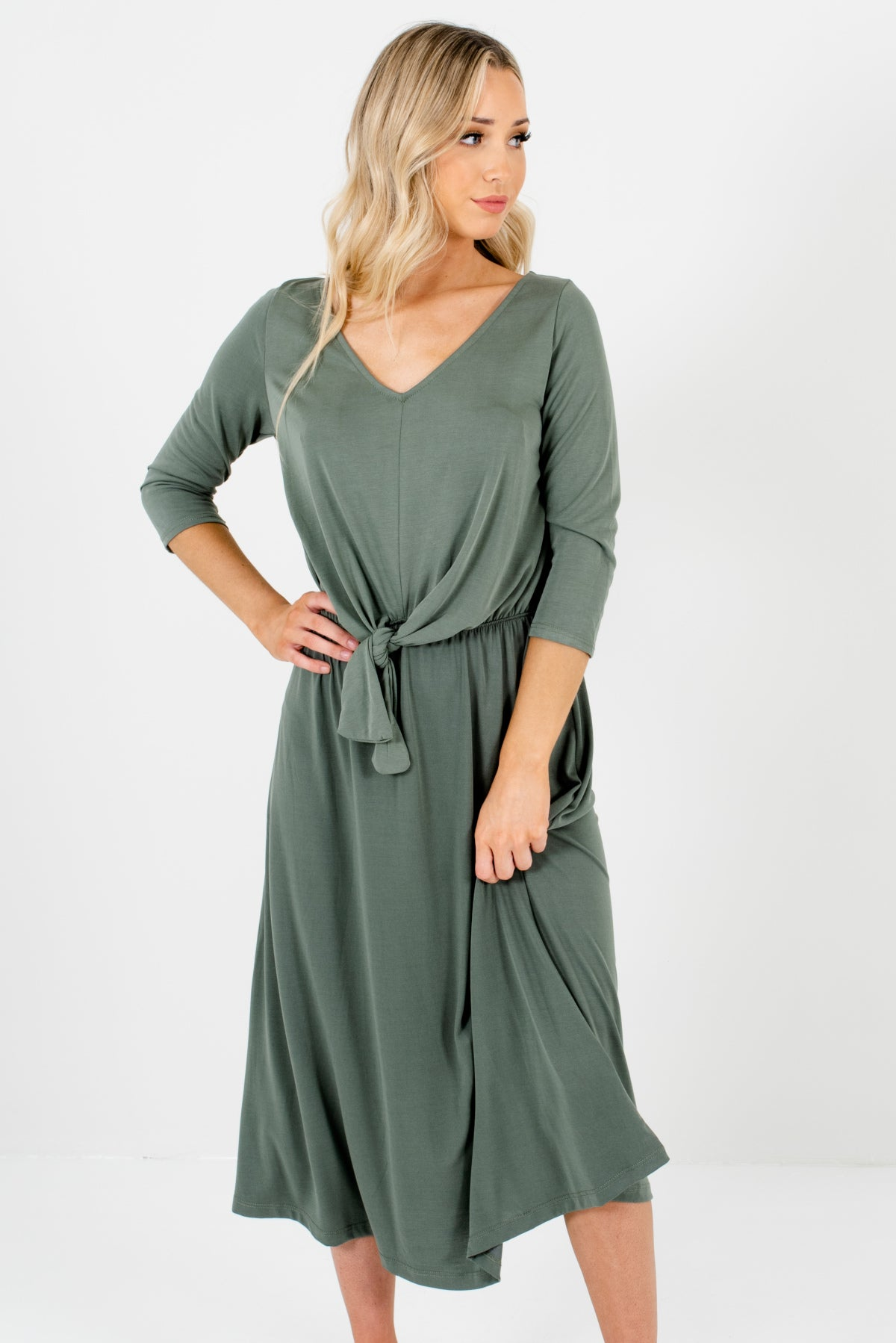 Olive Green Tie Front Knot Detailed Boutique Midi Dresses for Women