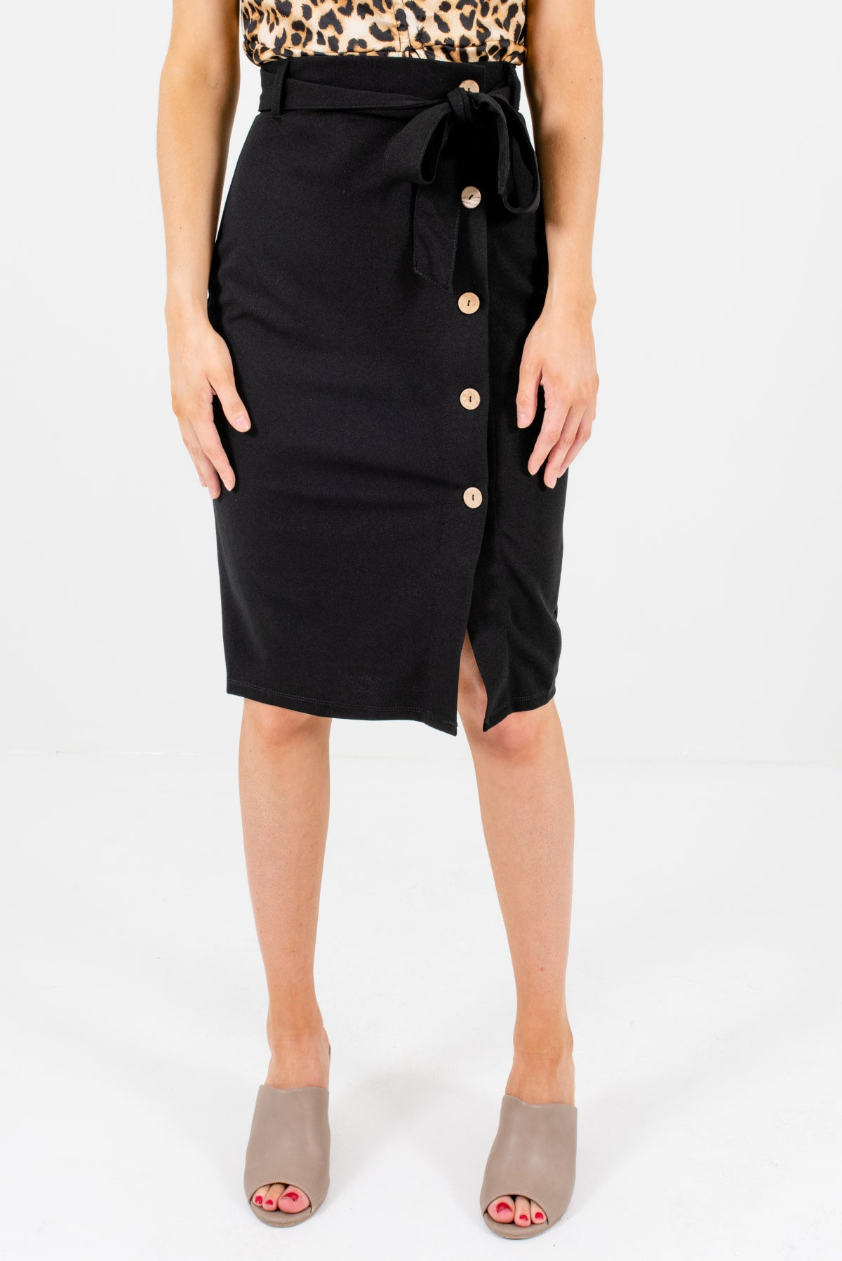 Black Button-Up Front Style Boutique Knee-Length Skirts for Women