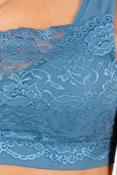 Slate Blue Scalloped Hem Floral Lace Overlay Cute Boutique Bralettes