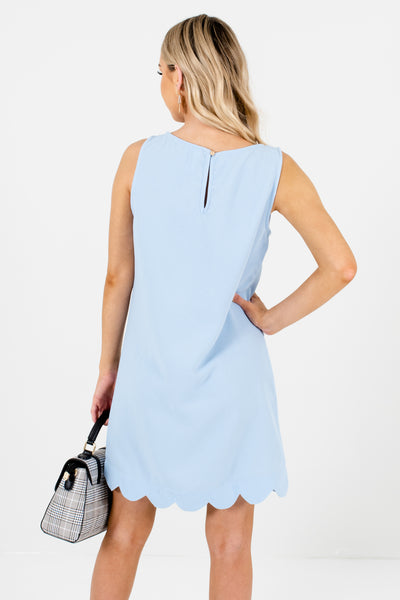 Baby Blue Scalloped Hem Boutique Mini Dresses for Parties
