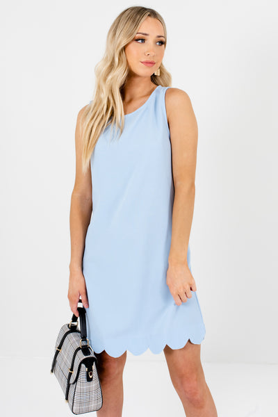 Light Blue Scalloped Mini Dresses Affordable Online Boutique