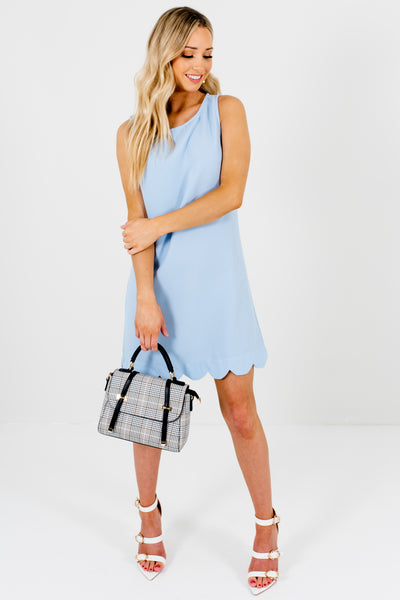 Baby Blue Unique Scalloped Hem Boutique Mini Dresses