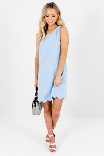 Light Blue Scalloped Hem Mini Dresses Boutique