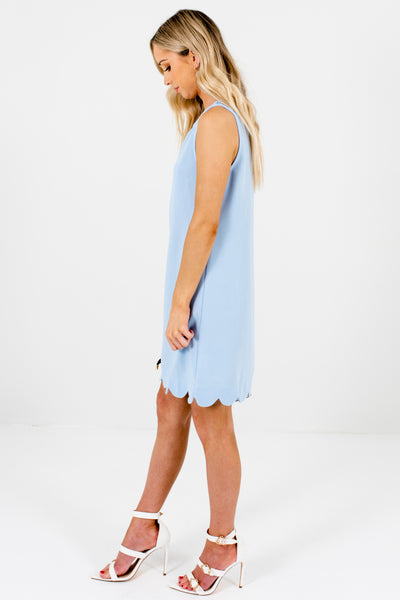 Light Blue Scalloped Hem Mini Dresses for Women