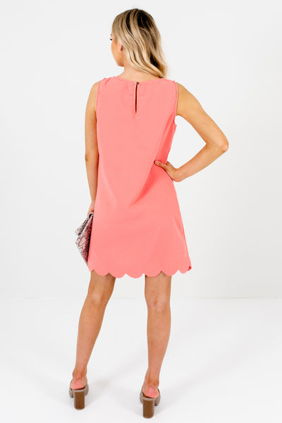 Coral Salmon Melon Pink Mini Dresses with Scalloped Hem
