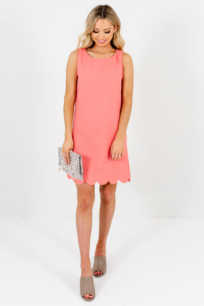 Light Coral Pink Mini Dresses with Scalloped Hem