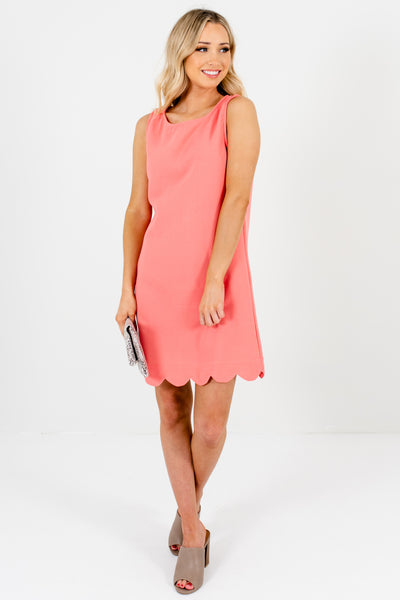 Light Coral Pink Scalloped Mini Dresses Affordable Online Boutique
