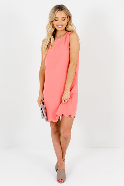 Light Pink Coral Scalloped Hem Mini Dresses for Spring and Summer