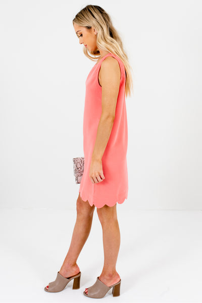 Coral Pink Scalloped Hem Boutique Mini Dresses for Spring