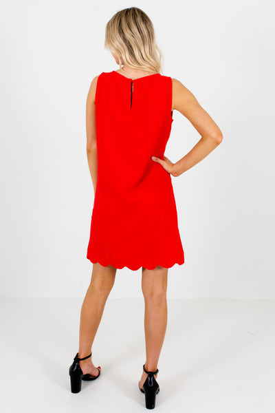 Red Scalloped Hem Mini Dresses for Women