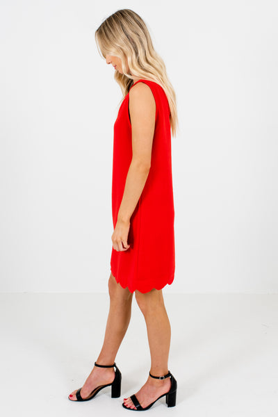 Red Scalloped Mini Dresses Affordable Online Boutique