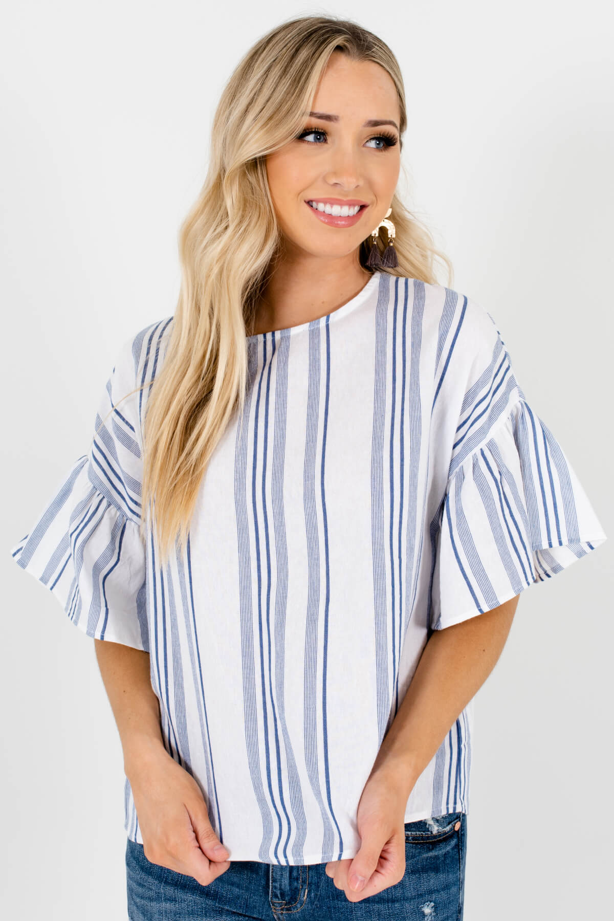 White Blue Striped Pleated Sleeve Tops Affordable Online Petite Boutique