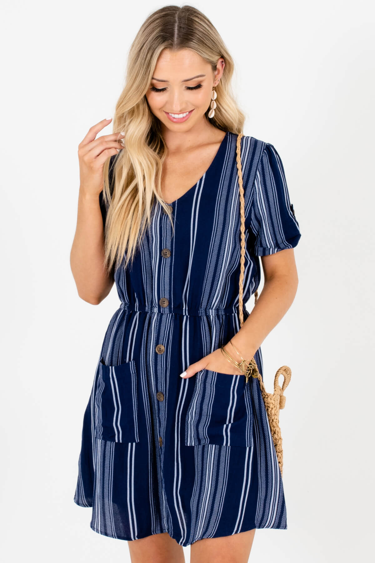 Navy White Striped Decorative Button Pocket Mini Dresses for Women