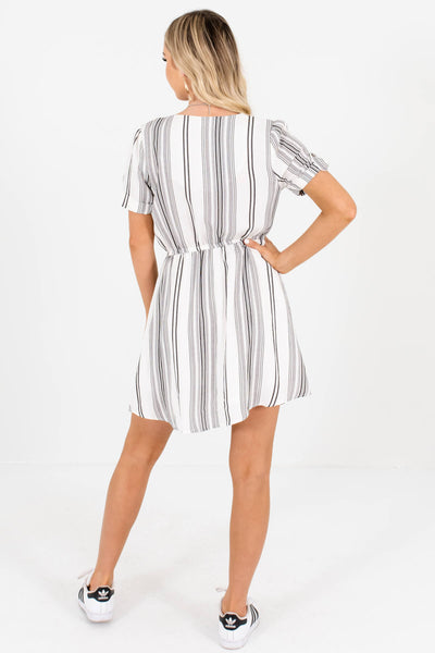 White Black Unique Striped Mini Dresses Affordable Online Boutique