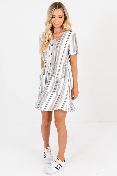 White Black Striped Boutique Mini Dresses with Decorative Buttons