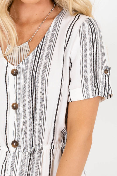 White Black Striped Decorative Button Mini Dresses with Pockets