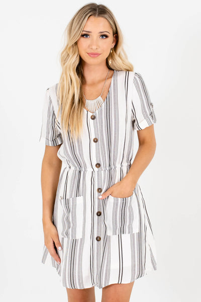 White Black Striped Decorative Button Pockets Mini Dresses