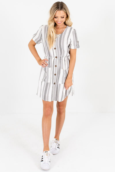 White Black Striped Elastic Waistband Mini Dresses with Pockets