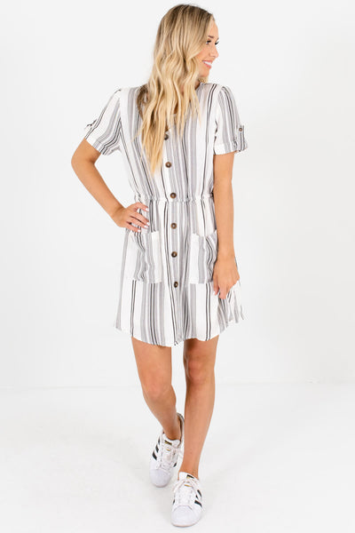 White Black Unique Striped Boutique Mini Dresses with Pockets