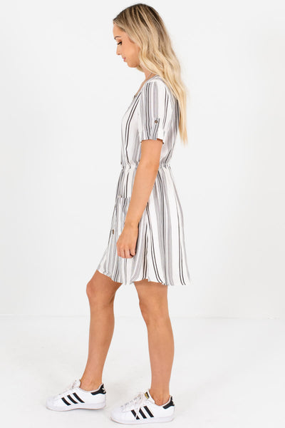 White Black Striped Mini Dresses Affordable Online Boutique Summer Outfits