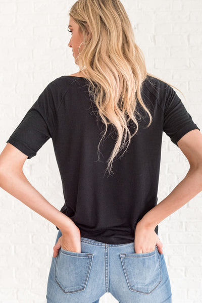 Black Casual Flowy Tee for Women