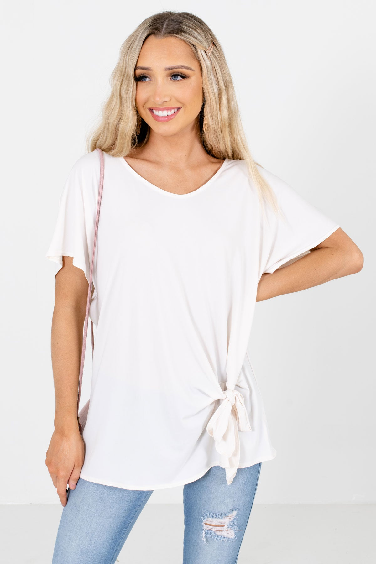 White Self-Tie Detail Boutique Blouses for Women