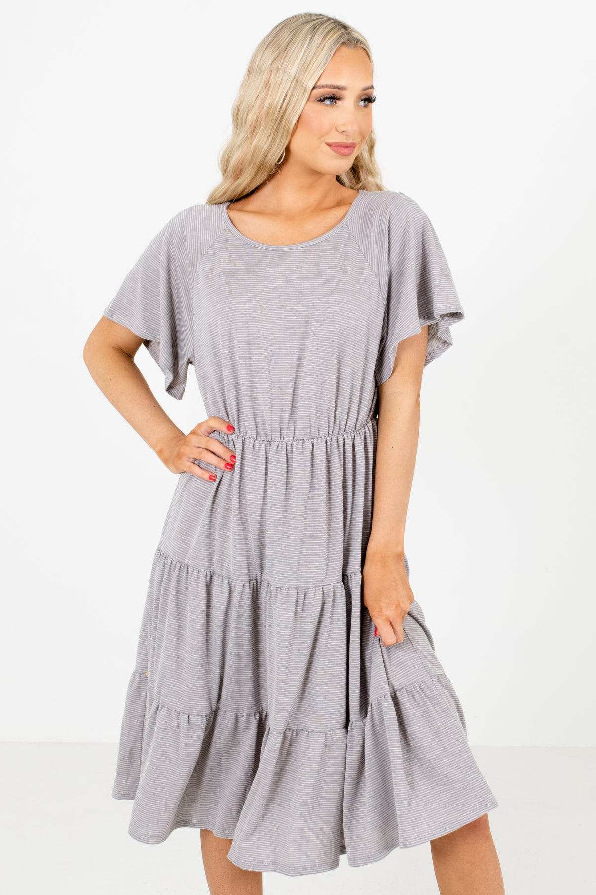Gray Striped Boutique Knee-Length Dresses for Women