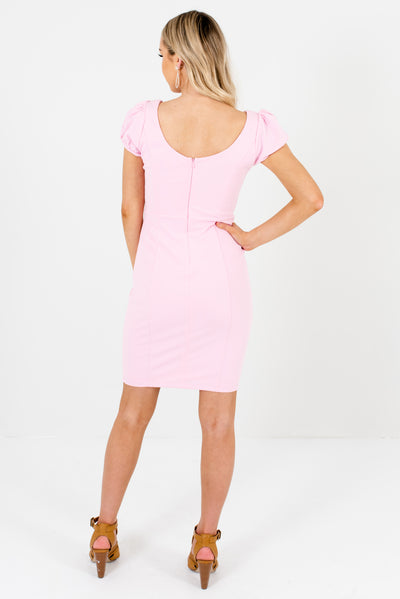 Women's Light Pink Puff Sleeve Style Boutique Mini Dress
